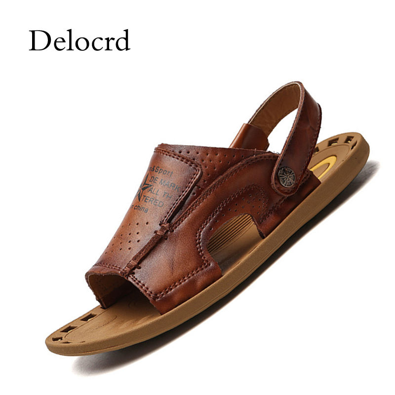 New Summer Style Men Leather Sandals Vintage Design Sewing Comfortable Cow Leather Men Beach Shoes Dual Purpose Male Slippers