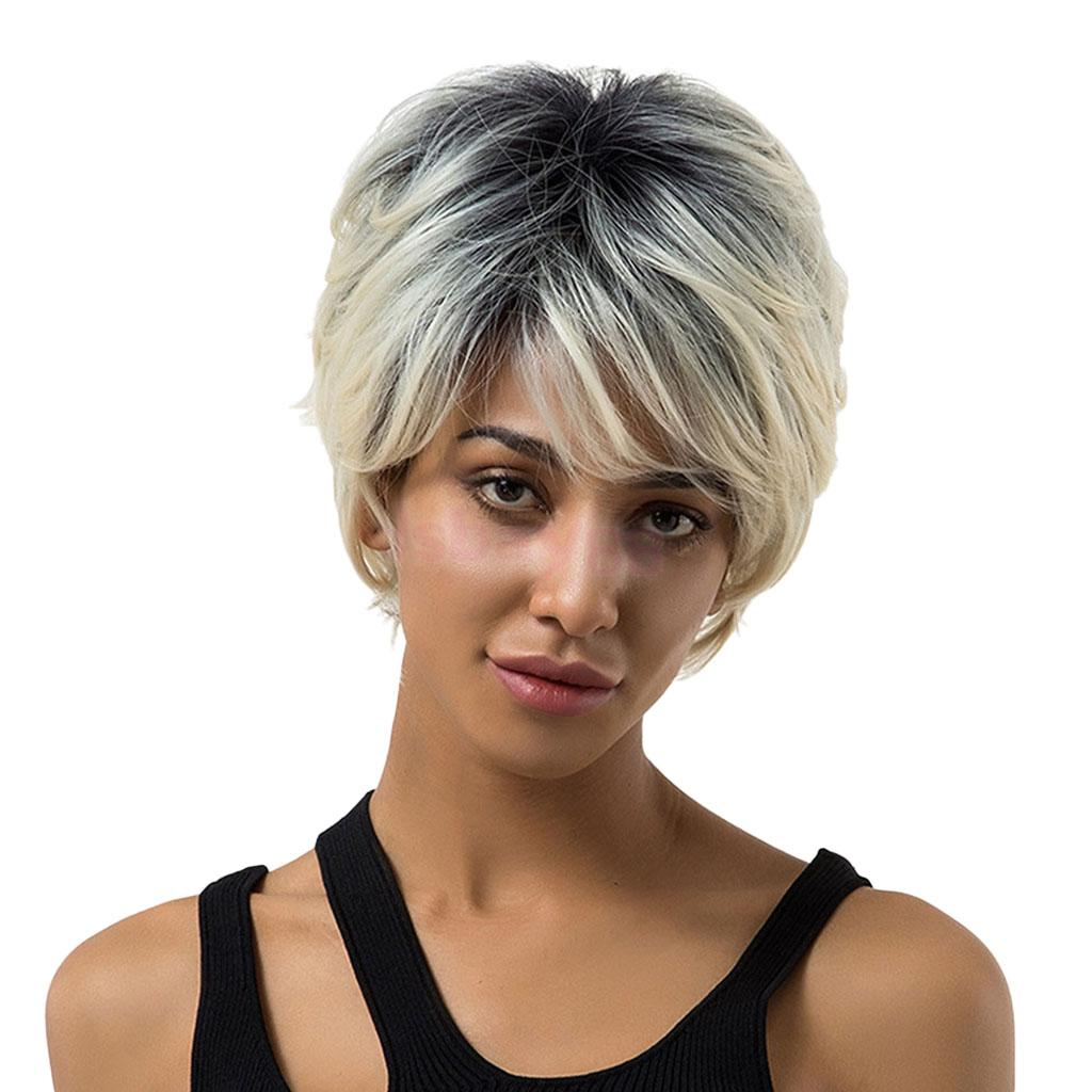 Natural Black Root Short Straight Wigs Synthetic Full Cosplay Wig with Oblique Fringe for Women
