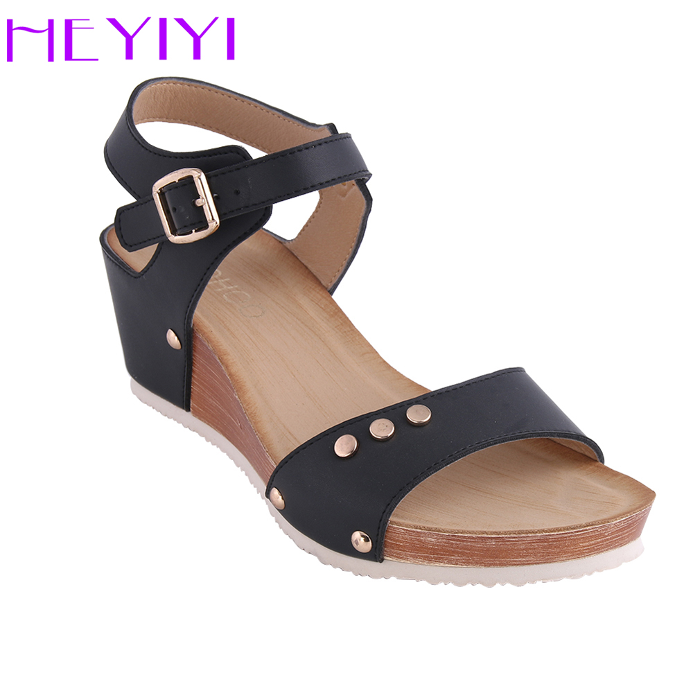HEYIYI Shoes Women Sandals Wedges Platform Summer Soft Flat Buckle Strap Rivets Lightweight Black Camel PU Fashion Free Shipping xiaying smile summer woman sandals platform wedges heel women pumps buckle strap fashion mixed colors flock lady women shoes