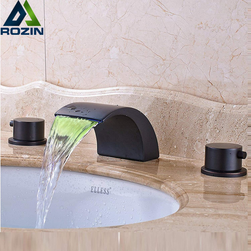 Black Bronze Basin Faucet Widespread LED light Bathroom Waterfall Spout Hot Cold Water Tap Dual Handle