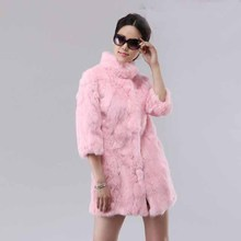 Stand collar medium-long 2014 rabbit fur coat fur patchwork slim overcoat