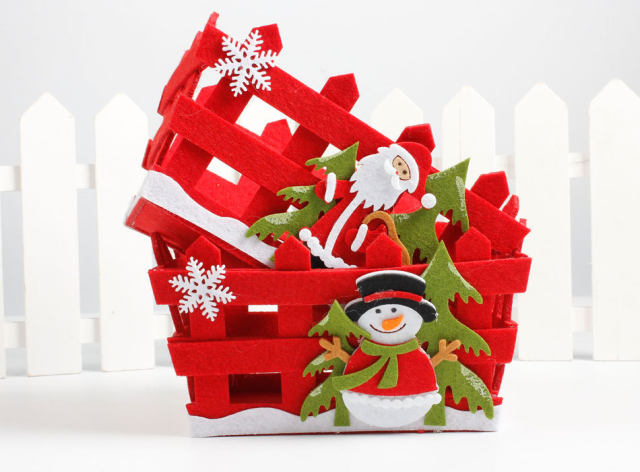 new christmas decoration red candy fruit basket santa claus snowman home party table decorations christmas eve apple gift basket