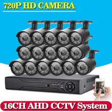 16CH CCTV System 720P AHD CCTV DVR System HD 16PCS CCTV Cameras 1.0 Megapixels Enhanced IR Security Camera No HDD