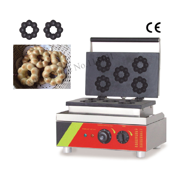 Donut grill machine commercial donuts making machine stainless steel blossom shaped donut maker 220V flower donuts baker 1pc donut maker doughnut maker small donut making machine stainless steel donuts producer with 6pcs moulds110v 220v