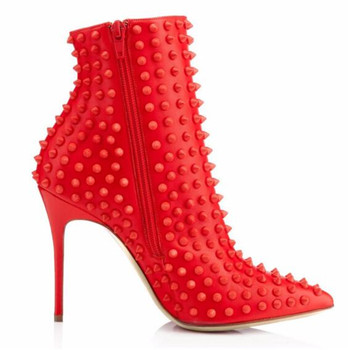 Fashion extreme high heel boots women's red new ankle boots pointed stiletto shoes rivet rivet ladies  shoes  XL  women's  shoes