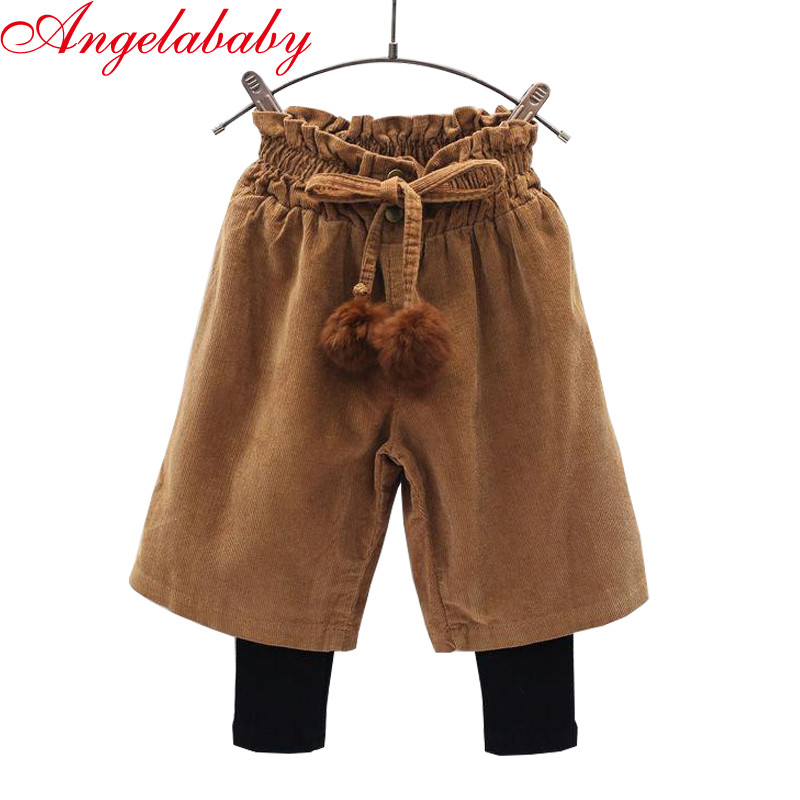 Girls Korean winter boots pants 2019 autumn and winter new children's corduroy wide leg pants kids Fake two pieces trousers