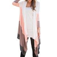 Women Autumn New Women Casual Long Sleeve Stitch Knitwear Long Cardigan Tops Cover Blouse Blouson Chaqueta