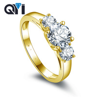 QYI 14K Solid Yellow Gold Three Stone Rings Women Round Cut Sona Simulated Diamond Engagement Wedding Band Ring
