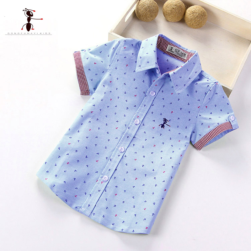 2017 Summer Short Sleeve Turn Down Collar Cotton New Arrival Shirt Famous Brand in China Kung Fu Ant 1463 kung fu ant plaid long sleeve autumn new arrival turn down collar blusas school blouse boy shirt long sleeve cotton 7105