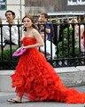 Gossip Girl Blair Vestidos Red Organza Drapeado vestido de Noite Sem Mangas Fora Do Ombro vestidos de celebridades Vestidos de Celebridades