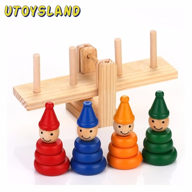 UTOYSLAND Wooden Clown Rainbow Stacker Seesaw Balance Scale Board Balancing Game Kids Early Education Toys for Children