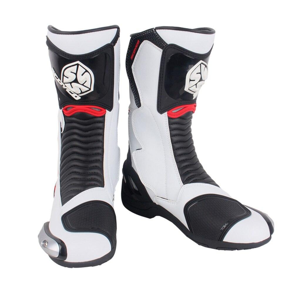 SCOYCO MR001A Moto Racing кожаные мотоботы обувь мотоцикл для верховой езды Спорт дорога скорость Professional Botas для мужчин белый красный