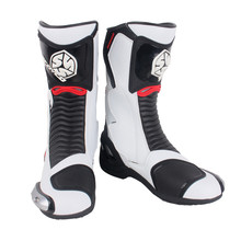 SCOYCO MR001A Moto Racing Leather Motorcycle Boots Shoes Motorbike Riding Sport Road SPEED Professional Botas Men White Red