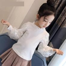 2019 여자 블라우스 가을 여자 아이 옷 5 6 7 8 9 10 11 12 Y 레이스 화이트 셔츠 학교 유니폼 빅 걸즈 탑스 블라우스 Fille
