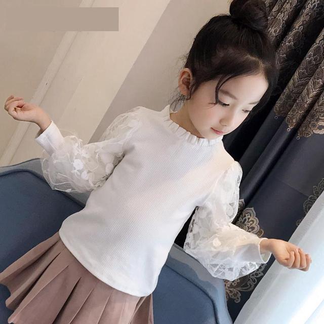 2019 בנות חולצה סתיו בגדי ילדים עבור בנות 5 6 7 8 9 10 11 12 Y תחרה לבן חולצות בית ספר אחיד גדול בנות צמרות חולצה Fille