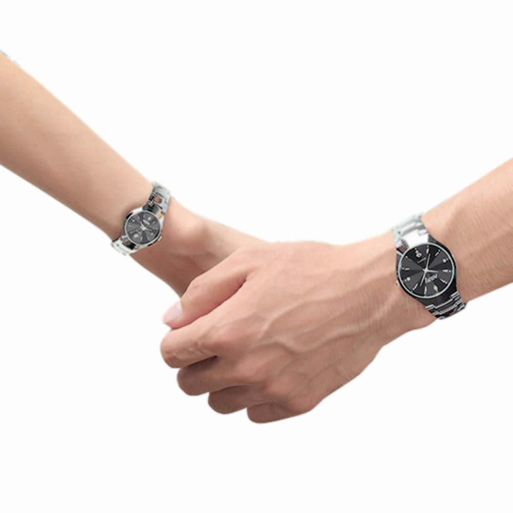 New Hot sale 1 Pair Luxury Single Calendar Quartz Stainless Steel Date Wrist Watches for Lovers Black and White Timer