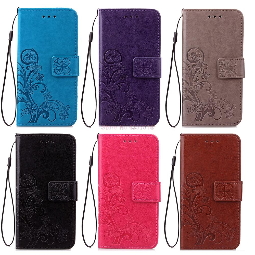 3D Leather Card Holder Stand Magnetic Flip Clover Wallet Covers For LG K4 2016 K120E K130E K121 Dual SIM L44VL VS425 Phone Cases