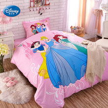 Lovely Three Princess Bedding Sets Little Girl's Bedroom Decor 100% Cotton Duvet Cover Set 3/4pcs Twin Full Size Birthday Gift(China)