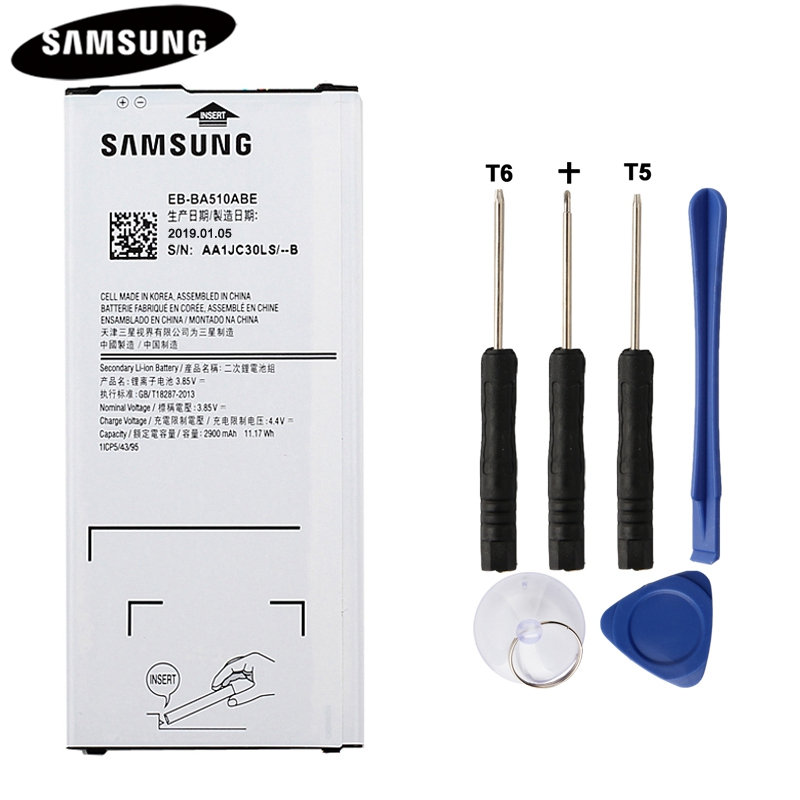 100% Original Battery EB-BA510ABE for Samsung Galaxy A5 2016 Edition A510F A5100 Authentic Battery 2900mAh