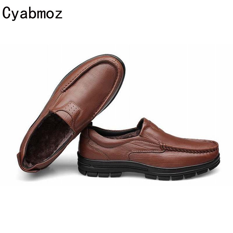 цена на men winter loafers simple fashion genuine leather shoes slip-on male shoes big size 46 47 48 plush warm moccasins driving shoes