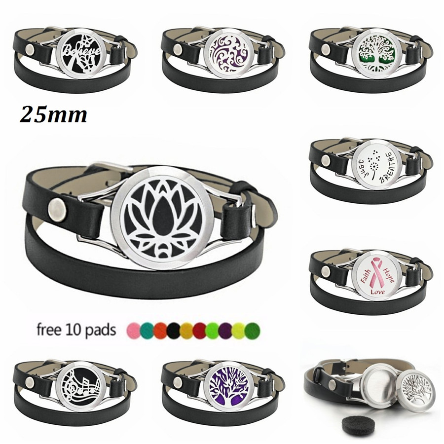 Jewelry & Watches Pu Leather Stainless Steel Aroma Essential Oil Diffuser Locket Bracelet+10pads