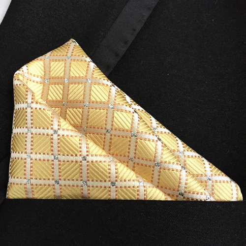 Lingyao Top Designer Pocket Square High Level Handmade Woven Handkerchiefs Golden Yellow With Plaids Checkers