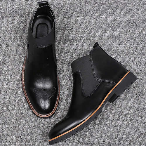 Misalwa New Big Size 6 12.5 Slip on Men Chelsea Boots Brogue Ankle Boots Fashion Men's Motorcycle High Top Men Casual