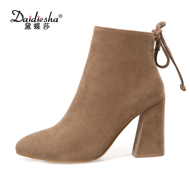Daidiesha 2017 Pointed toe flock high square heels autumn hot sale women shoes ankle boots after zipper buckle solid Women Boots fashion hot sale genuine leather low heels pointed toe rivets buckle square heel autumn winter women ankle boots