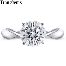 Transgems Moissanite Gold Engagement Ring for Women 2 Carat ct 8mm F Color Moissanite 14k 585 White Gold Ring for Wedding Gift camera 12v power supply 2 0a waterproof outdoor dc ac power supply adaptor for cctv camera
