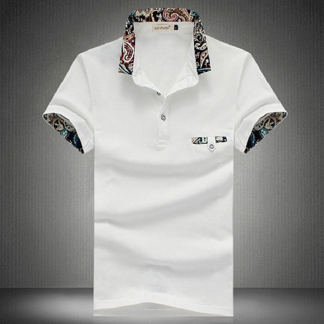 2017 New Brand New Floral Collar Men POLO Shirts Summer Style Short Sleeve Shirts Camisas Polo Plus Size  M - 5XL, CA094