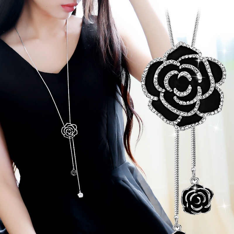 DuoTang Trendy Enamel Black Flower Pendant Necklace Rhinestne Silver And  Gold Color Long Chain Sweater Necklace e582815b081f