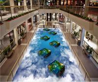 Modern Custom 3D floor mural The sky white clouds square column PVC floor sticker painting Murals