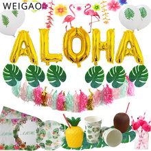 Zomer Tropische Luau Party Aloha Banner Bunting Slingers Hawaiian Strand Thema Verjaardagsfeestje Decoratie Kids voor Flamingo Party(China)