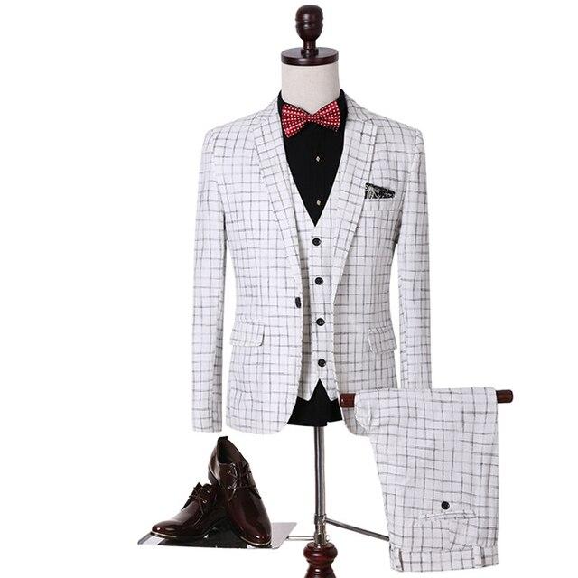 633b33057 Tallas grandes 5Xl Blazer Establece Jacket + Pants + Vest 3 Piezas Classic  Plaid Chaquetas Slim