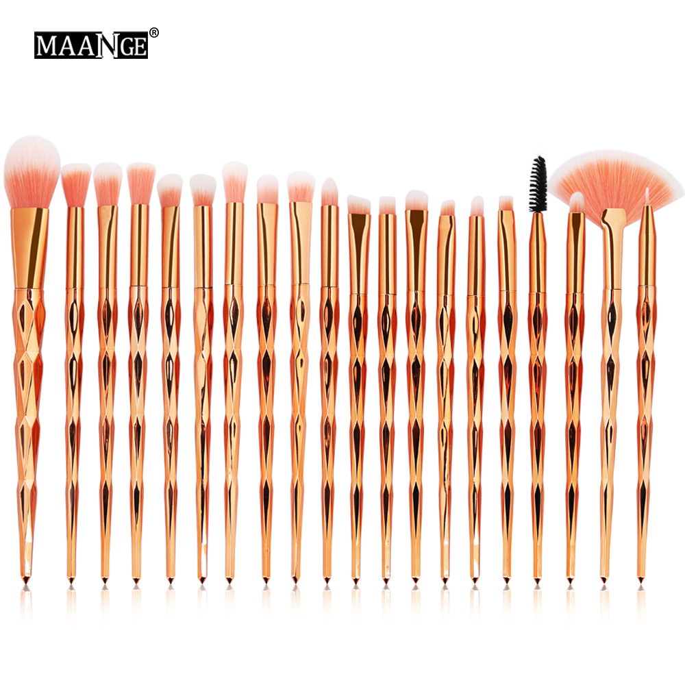 MAANGE 20Pcs Makeup Brushes Set Diomand Powder Eye Shadow Foundation Concealer Blush Lip Make Up Brushes brochas para maquillaje maange 20pcs multicolor professional soft cosmetic complete eyeliner eye shadow brow lip foundation makeup brushes set for women