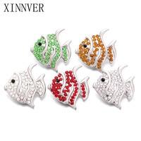 2pcs/lot Mix Snap Jewelry Buttons Rhinestone Metal Snap Buttons 18mm Fit 18mm Snap Bracelets Women Fish Charm Jewelry ZA658