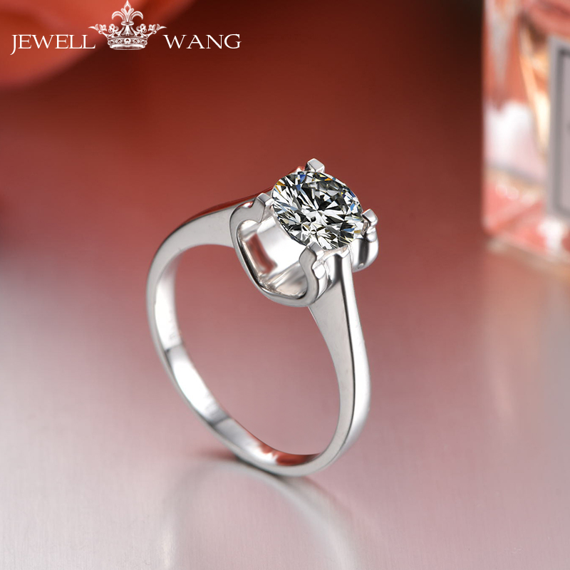 94ead6cad2ce Aliexpress.com  Comprar JEWELLWANG anillo de oro blanco de 18 K 0.4 ...