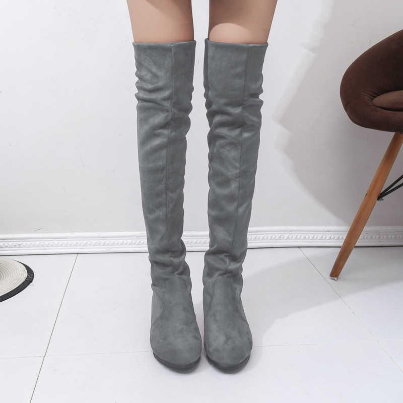 Женские высокие сапоги; модные женские сапоги выше колена; Новые осенне-зимние сапоги из флока; Botas Feminina; женские сапоги до бедра