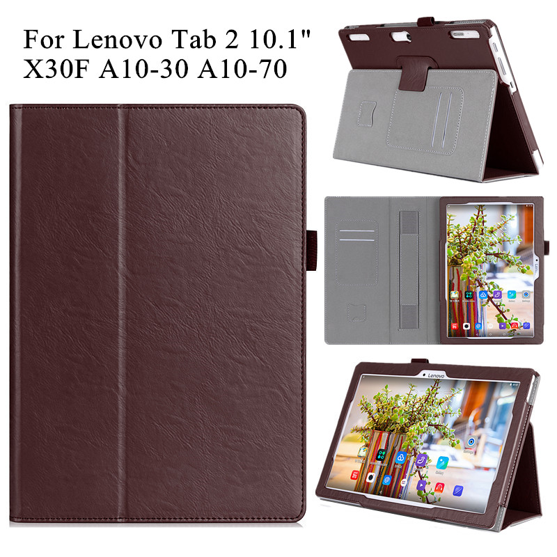PU Leather Cover Case for Lenovo Tab 2 X30F A10-70 10.1 Tablet Flip Stand Shell Cover for Lenovo Tab 2 A10-30 with Hand Holder free shipping new 10 1 original stand magnetic leather case cover for lenovo ibm thinkpad 10 tablet pc with sleep function