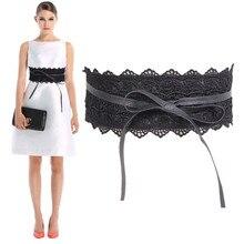 Belt For Women Dress Bowknot Faux Leather Lace Wide Belt Self Tie Obi Cinch Waist Band Boho Belt Cinto Fashion Belt  Feminino