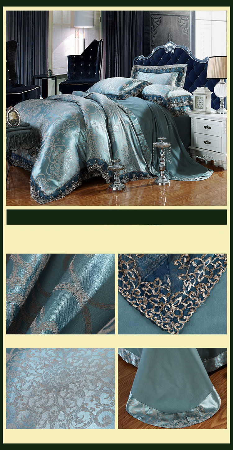 New Luxury Embroidery Tinsel Satin Silk Jacquard Bedding Set, Queen, King Size, 4pcs/6pcs 31