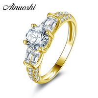 100 10K Gold Yellow Engagement Rings Hotting Sale Sona Synthetic Simulated Diamond Engagement Wedding Ring Jewelry