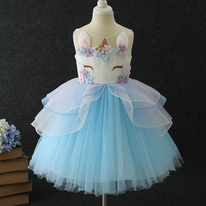 HTB1Zb12oeOSBuNjy0Fdq6zDnVXah New Girls Dress 3Pcs Kids Dresses For Girl Unicorn Party Dress Christmas Carnival Costume Child Princess Dress 3 5 6 8 9 10 Year