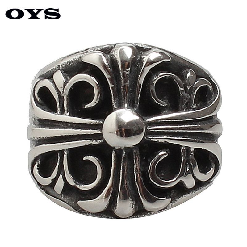 High Quality Punk Men Ring Stainless Steel Retro Silver Big Cross Fashion Style Ring for Men Jewelry Free Shipping