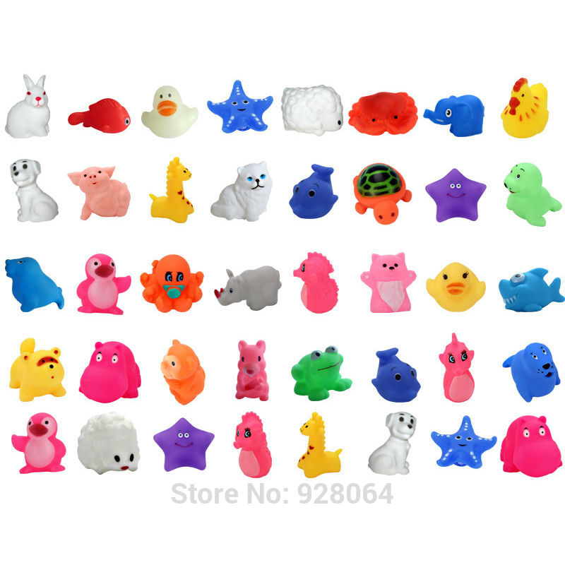 5pcs Duck animal Baby Bath Toys/Squeeze Sound Spraying Beach Bathroom toys/water toy baby toys for children Kids gift/Car Boat