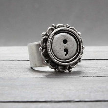 Semi Colon Alloy handstamped rings Suicide Awareness Antique Silver plated rings with gift box Semicolon Jewelry YLQ0302