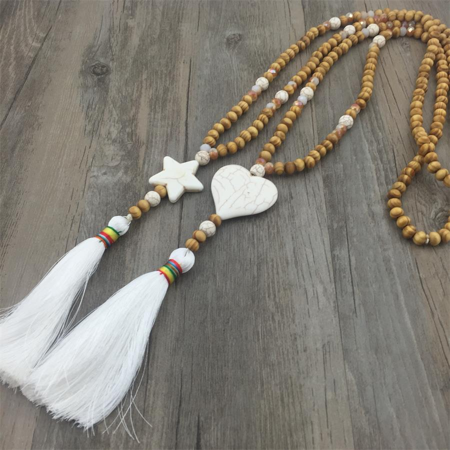 Fashion Accessories Necklace Jewelry Maxi Natural Star Heart Stone Wood Beads Necklaces & Pendants for Women Tassel luna chiao fashion ins popular round natural stone fan fringed cotton tassel necklaces pendants for women