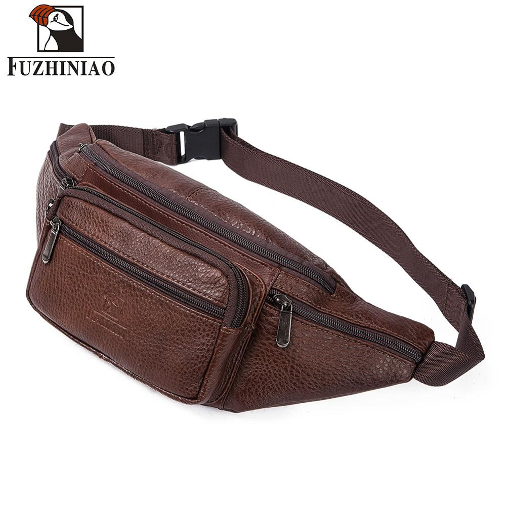 FUZHINIAO Waist Bag Leather Men Fanny Pack New Brand Fashion Chest Handbag Male Functional Money Phone Belly Bags Purse 2019