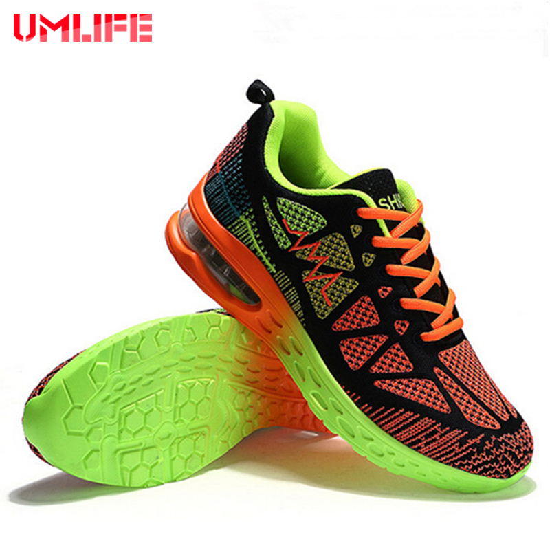 UMLIFE Sport Running Shoes Men's Cushioning Sneakers Breathable Mesh Outdoor Sneakers For Unisex Light Sport Shoes For Women professional kumpoo unisex shoes badminton light cushioning comfortable sports sneakers for men and women breathable kh 205 l799
