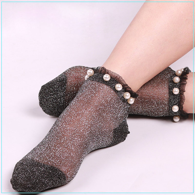 Sexy Women Ankle Socks Summer Autumn Transparent Glitter Mesh Soft Elasticity Gauze 2017 Hot Crystal Fishnet Socks